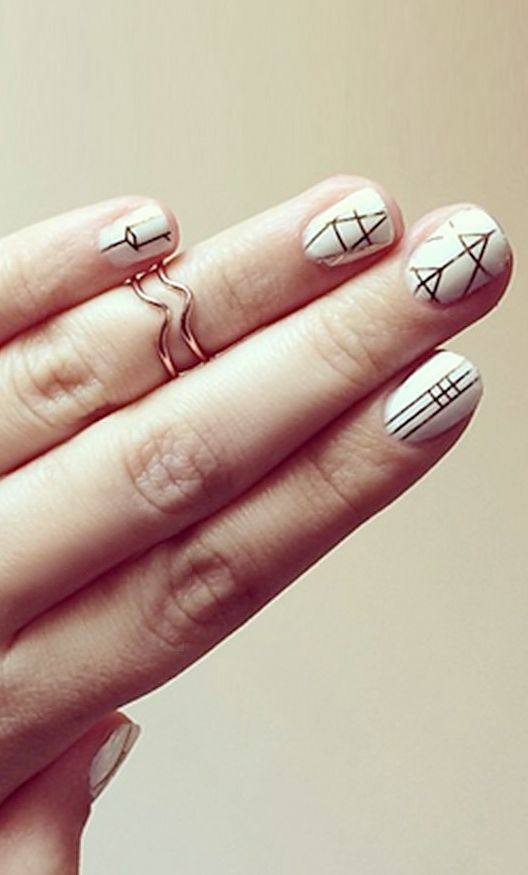 Gold geometric nail art