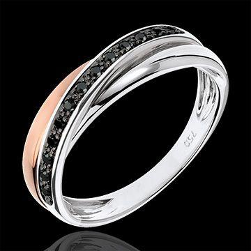 Ring Saturnus Diamant - zwarte diamanten, roze goud en wit goud - 9 karaat : Edenly juweel