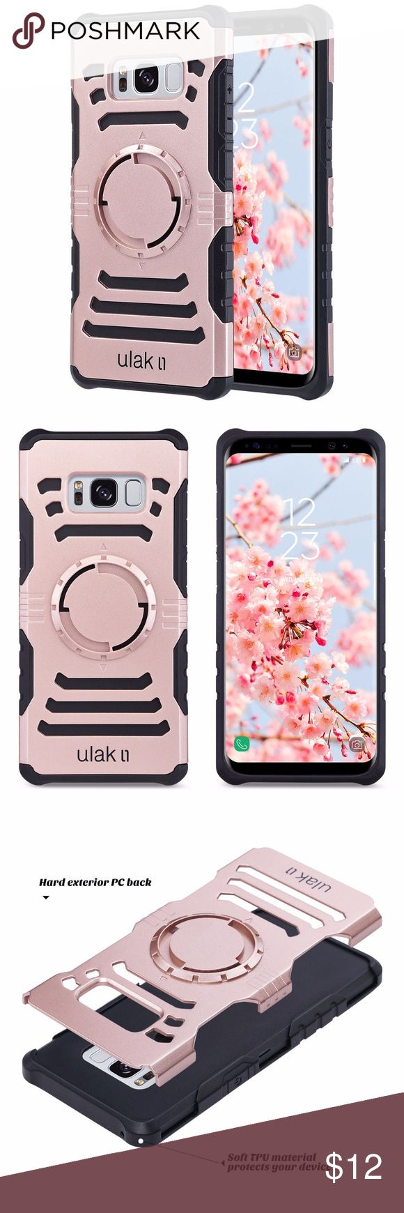 Samsung Galaxy S8 Shockproof magnetic cover rose For Samsung Galaxy S8 Slim Armor Magnetic Shockproof Rubber Cover Case Rose Gold ONLY Compatible with Samsung Galaxy S8(2017 Version); DO NOT FIT Samsung Galaxy S8+ or other versions.  Slim and lightweight protects your Samsung Galaxy S8 Case against scratches, fingerprint and dirt.  Made with hard plastic outside and soft shock absorbent TPU back cover inside.  Back Magnetic cover supports car holder(not inclueded) ULAK Accessories Phone…