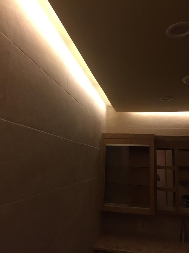 Bathroom remodel: drop down drywall ceiling, with 110V LED ...