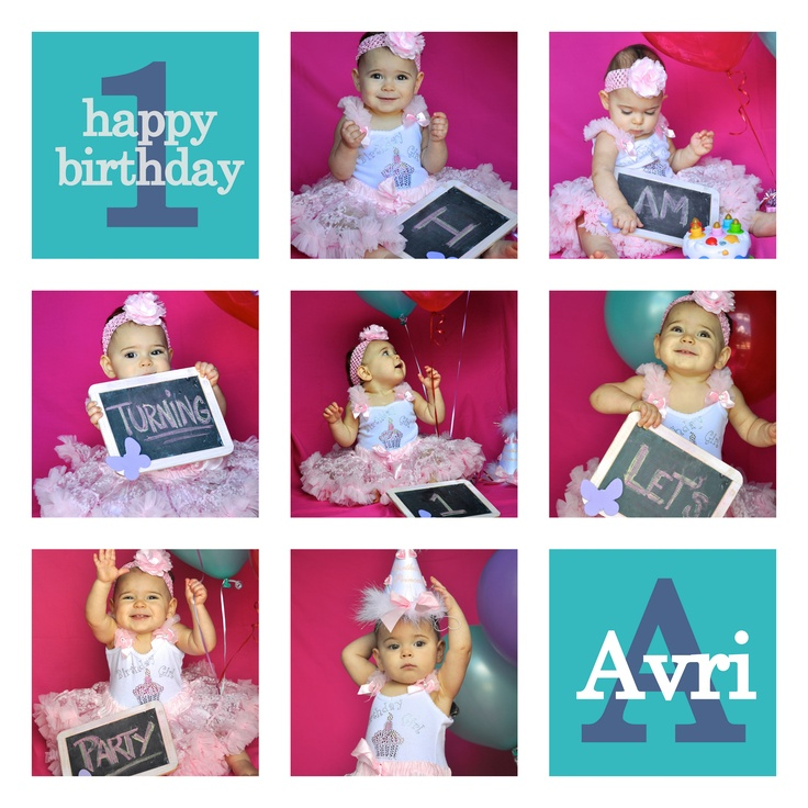 baby girl's 1st birthday invite - Could do a save the date or other event with this layout too...