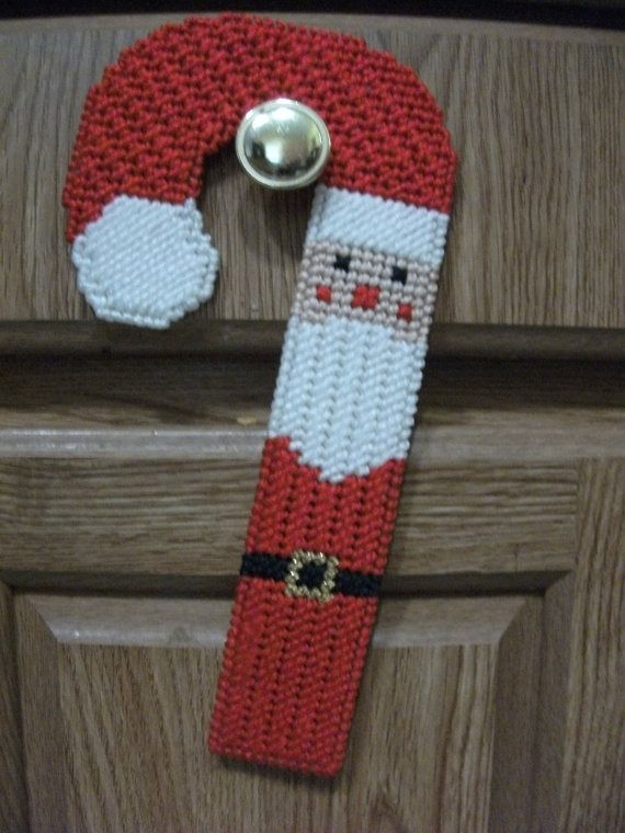 Plastic canvas santa candy cane doorknob by CraftingCritters