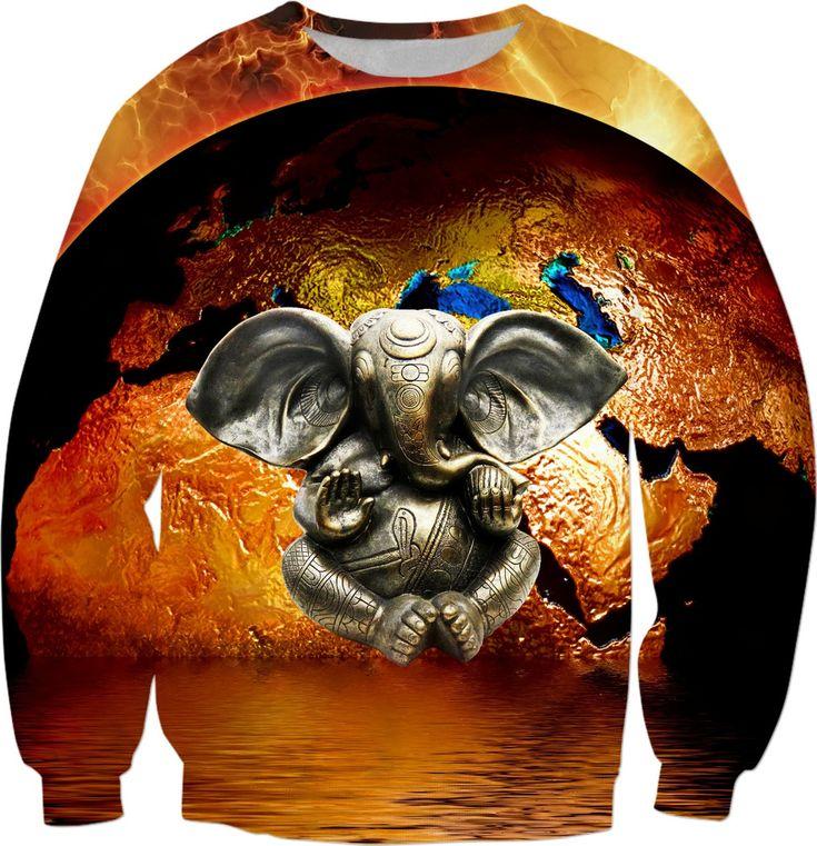 Elephant Ganesha and Earth Sweatshirt #rageon #erikakaisersot #sweatshirts #ganesha