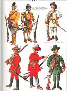 Armia siedmiogrodzka 17w: 1-2 - zaciężni Niemcy Bethlena, 1621 3 - biały Niemiec Apafiego, 1671