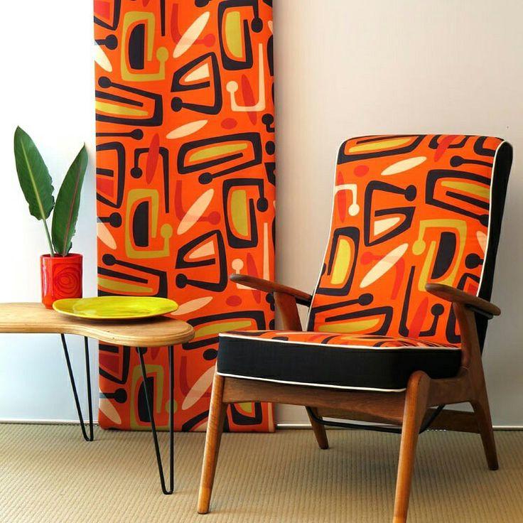 VIVID VIBES Our classic #retro #Waikikicitrus sitting comfortably on a #FredLowen #FluerSC55. Fabric online @socialfabricau . #upholsteryfabric #draperyfabric #lampshadefabric #decor #interiordesign #interior #australianmade #midmoderncentury