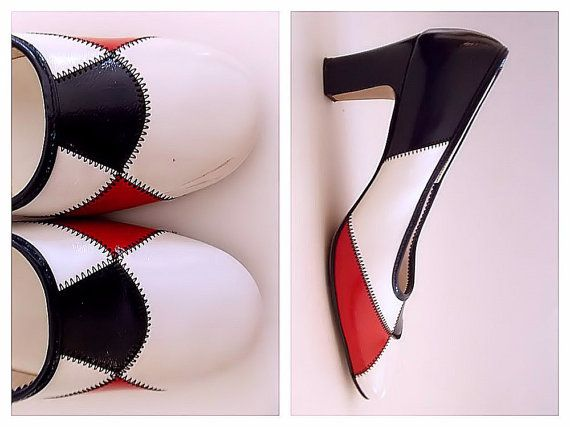 Mod Red White and Navy High Heels - Size 8 Color Block Pumps - Vintage 1970s Ladies Shoes by De Lorenzo with Original Box