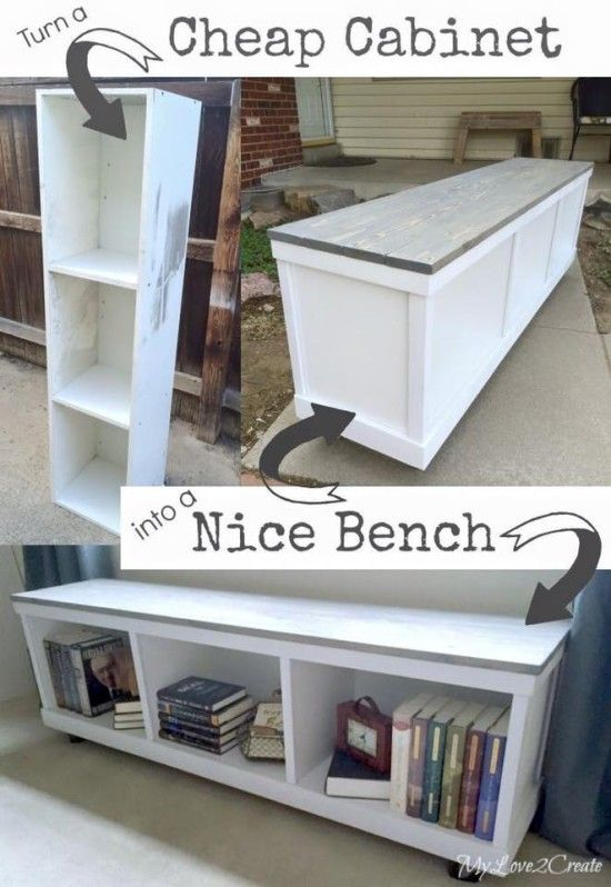 Upcycled Cabinet Bench Bookcase Tutorial                                                                                                                                                                                 More