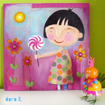 """girl with lollipop"";  mixed media on canvas"