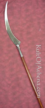"""While Sonja's weapon is more modern and made entirely out of metal, this is the basic design for a """"war scythe""""."""