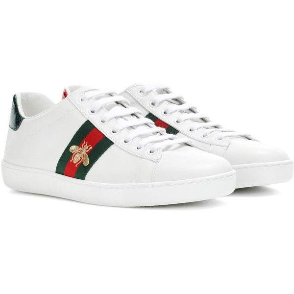 Gucci Ace Leather Sneakers (12,665 MXN) ❤ liked on Polyvore featuring shoes, sneakers, white, white trainers, gucci, white leather trainers, leather trainers and leather footwear