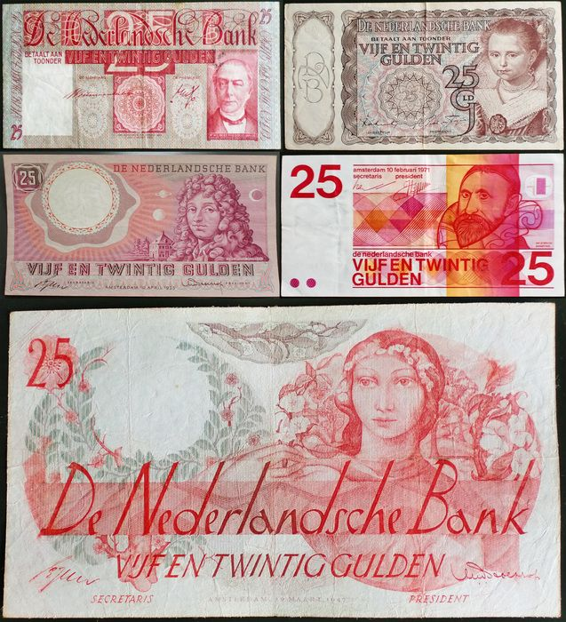 Currently at the Catawiki auctions: The Netherlands - Banknote 25 Guilders 1931/1971 (5 different notes)