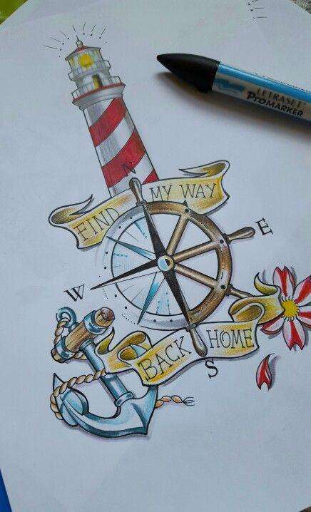 Old school tattoo lighthouse anchor sailor boytattoo