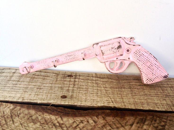 Pink Key Hook - Gun Hook - Country Wall Decor - Cowgirl Decor - Pink Wall Decor - Key Holder - Western Wall Art - Gun Decor - Wall Key Hooks by ShineBoxPrimitives on Etsy