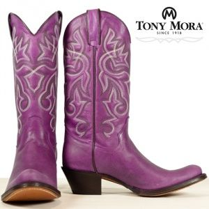Purple fashion cowboy boots by Tony Mora.