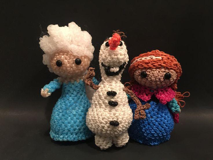 Disney's Frozen Elsa, Anna & Olaf Combo Play Pack Rubber Band Figures, Rainbow Loom Loomigurumi, Rainbow Loom Disney by BBLNCreations on Etsy Loomigurumi Amigurumi Rainbow Loom