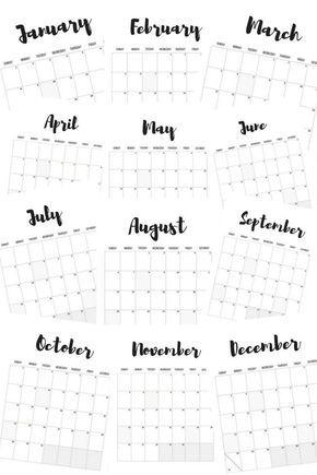 2017 monthly calendars