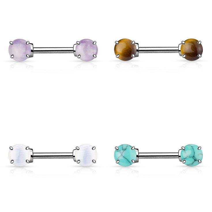Our new Semi Precious Stone Prong Set Ends 316L Surgical Steel Nipple Bar Rings from #Hollywood #BodyJewelry #NipplePiercing #NippleRings #NippleBars #Piercing #Jewelry