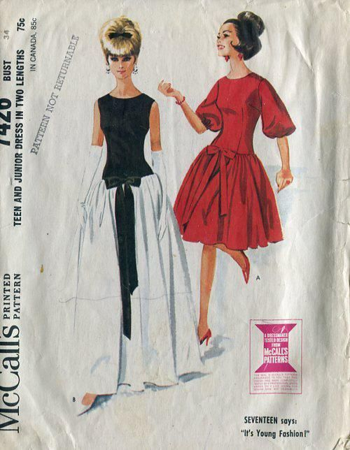 """McCall's 7426; ©1964; Teen and Junior Dress in Two Lengths. Long torso dress has dart fitted bodice and four-piece gathered skirt in long or short length. Long dress is sleeveless and may be made in one or two fabrics. Short dress has set-in sleeves with elastic in hems at lower edges. Applied bow at front may be of bodice fabric or ribbon. Dress has center back zipper. bust 36"""""""