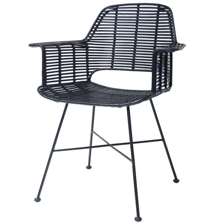 HK-living Kuip stoel rotan zwart met metalen frame 67x55x83cm