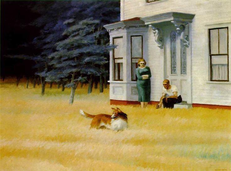 Edward Hopper 1882-1967 Cape Cod Evening. Pintor estadounidense, célebre por sus retratos de la soledad en la vida estadounidense contemporánea. Se le considera pintor de la escuela Ashcan, que llevó al expresionismo abstracto posterior a la Segunda Guerra Mundial