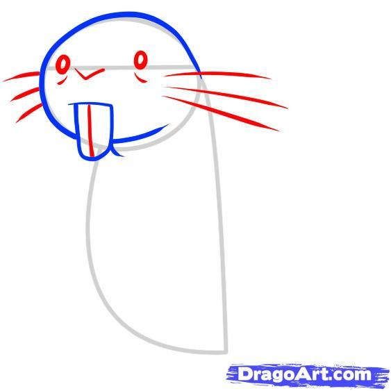 how to draw rufus, kim possible step 3