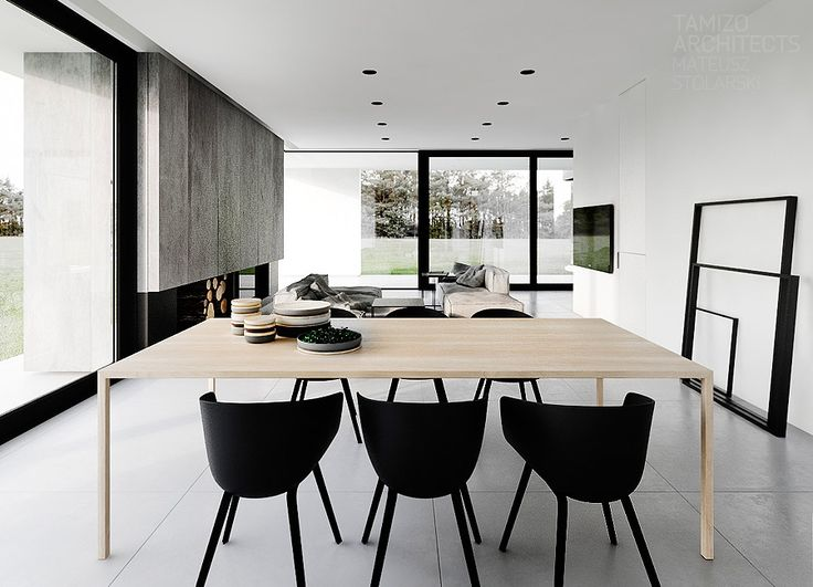 Projekt wnetrz domu jednorodzinnego r-house, pabianice | Tamizo Architects: Interior Design, Dining Rooms,  Boards, Interiors Design, Black White, House, Tamizo Architects, White Wall, Dining Tables