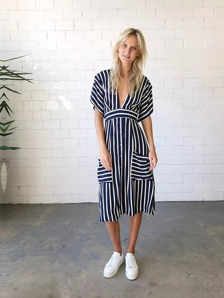 f4136fc8e ... Online Store for Women Sexy Dresses. Striped v-neck backless tether  pocket dress