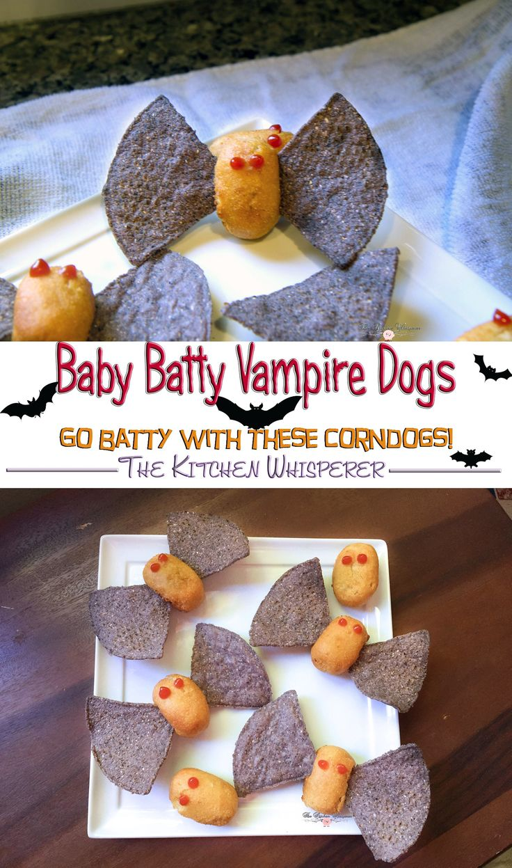 Baby Batty Vampire Dogs are almost too cute to eat! Make these simple snacks to take your Halloween get-together to the next level of spooky!