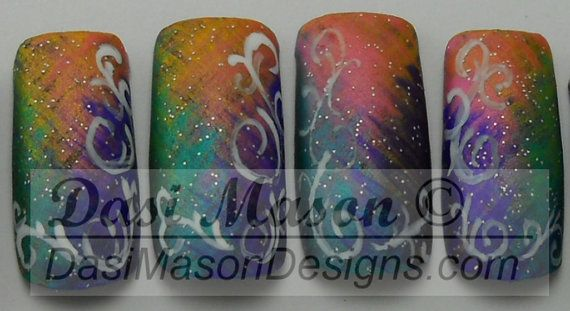 Pastel Rainbow Vines Instant Acrylic Nail Set by dasimason on Etsy, $10.00