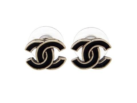 Vintage Chanel stud earrings CC logo black & silver