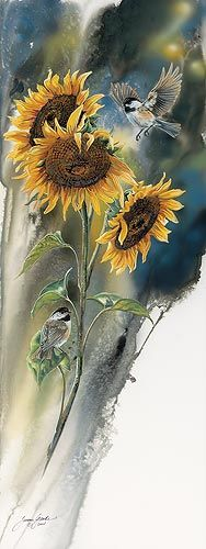 """Golden Sun – ChickadeeOriginal Painting    BY JANENE GRENDE    """"I have grown sunflowers just for the birds. It is always a treat to see the chickadees fluttering around in them, so much like little acrobats. They hunt and peck for just the right seeds. The gold of the sunflowers always brings a smile so combining them makes a natural compliment for each other.""""Original gouache painting by Janene Grende. Image size; 30"""" x 11-1/2""""."""