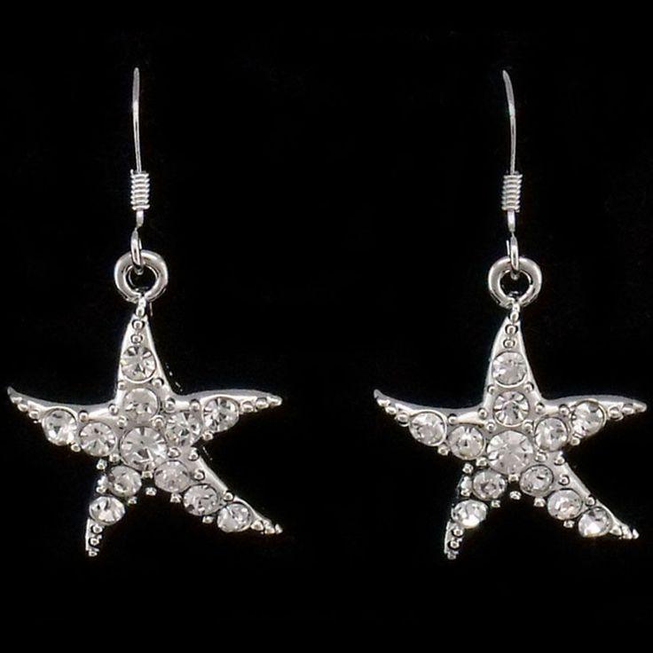 Starfish Sea Life Beach Dangle Drop Earrings Pairs Costume Jewelry Crystal Clear