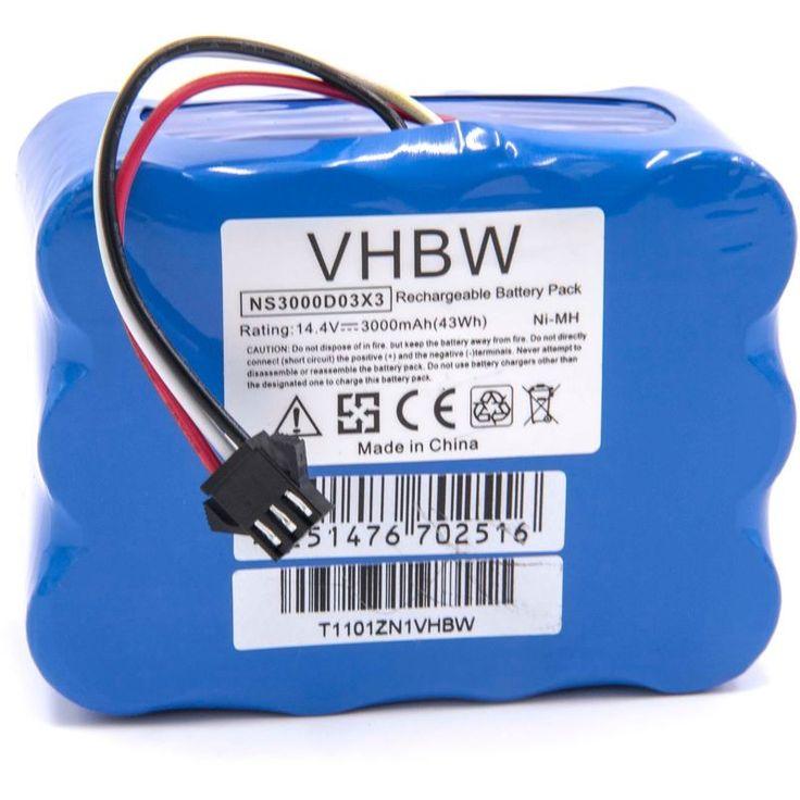 vhbw NiMH batterie 3000mAh (14.4V) pour robot aspirateur Home Cleaner robots domestiques Klarstein Cleantouch