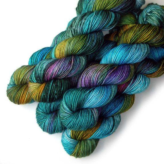 Worsted Handdyed Merino Cashmere Nylon Yarn - Blue Macaw, 200 yards