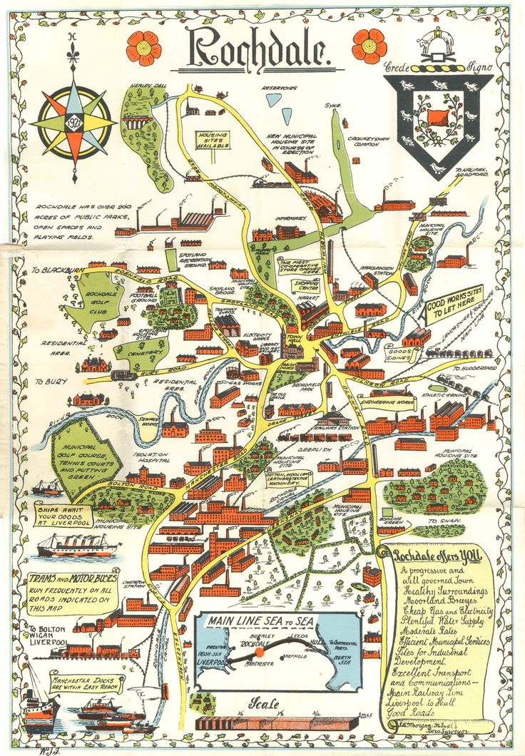 A pictorial map of Rochdale, Lancashire, c1930