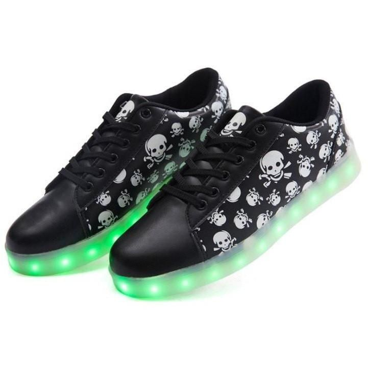Tricandide Adult 7 Colors LED Flashing Sneakers White Sport Shoes