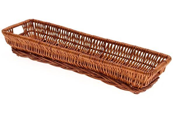 Primex Extra Large Shallow Rectangular Display Cane Wicker Basket Tray NEW