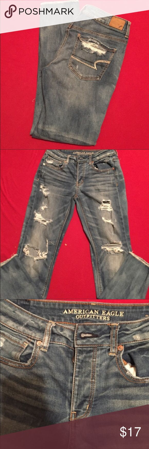 American Eagle Outfitters jeans Great pair of distressed jeans from American Eagle Putfitters. There is distressing down the front and hem is factory frayed also. Goes perfect with a nice top and boots for a edgier look or with your favorite football jersey on game night. All around great pair of jeans. American Eagle Outfitters Jeans Skinny