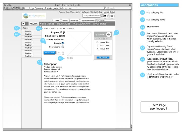 ampedpixel wireframe for e commerce site blueskygreenfields