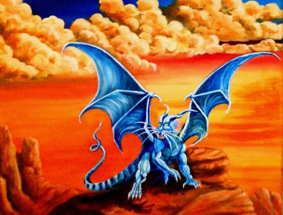 "Buy 1 Get 1 FREE - Dragon Art - Fantasy Art - Blue Dragon - Desert Landscape -  ""Caatha's Quest"" - 8"" x 10"" Poster"