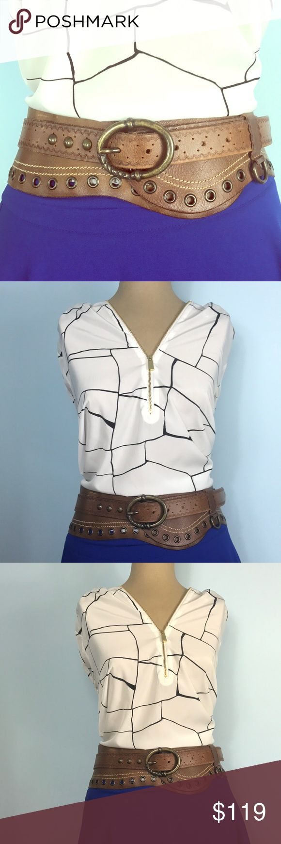 """Diesel 💯 Leather Wide Buckle Waist Belt Diesel 100% Leather Wide Buckle Waist Belt  Made in Italy  Size 85/34 Measures 41"""" Long and 3.5""""Wide   Seen here paired with a skirt and blouse, this Belt can be styled many different ways! Absolutely perfect for showing off your waist in a loose fitting dress! Add some cowgirl boots and bam! You've got one killer outfit! 🌼💖  🌸Preloved🌸 A few marks as shown in photo. Diesel Accessories Belts"""