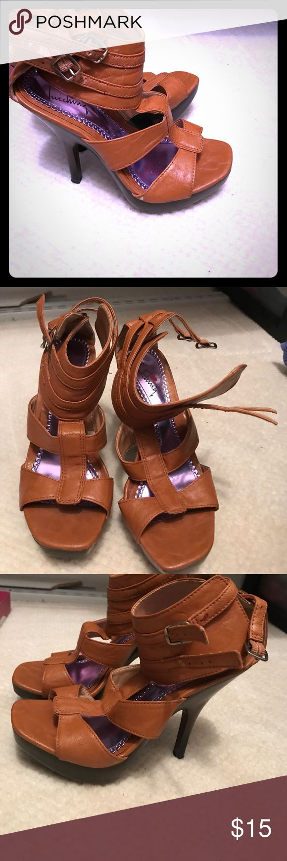 Brown strappy heel Dark/brown high heel sandal Luichiny Shoes Heels