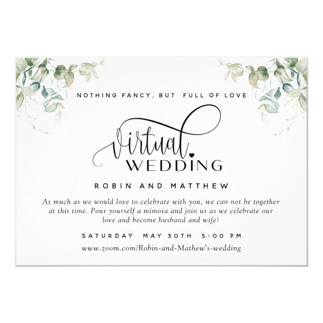 Elegant Greenery Online Virtual Wedding Invitation Zazzle Com Wedding Invitations Romantic Invitation Blue Wedding Invitations