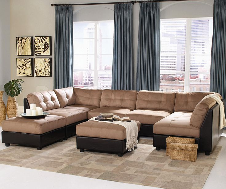 Elegant Brown Sectional Sofa Design Idea For Living Room With Ottoman Rug