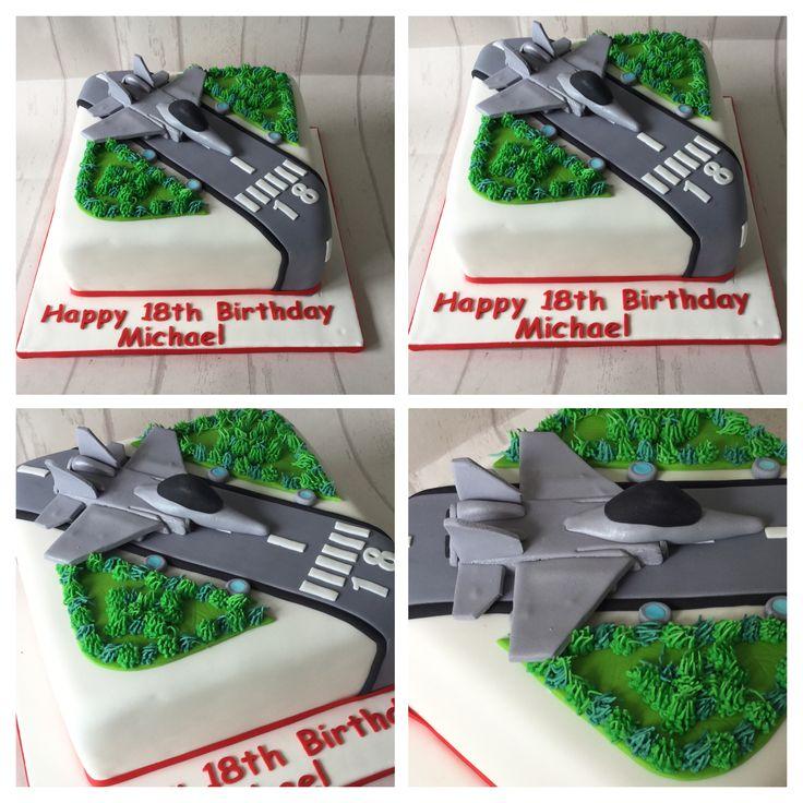 Aviation theme jet fighter birthday cake - maybe longer, not square