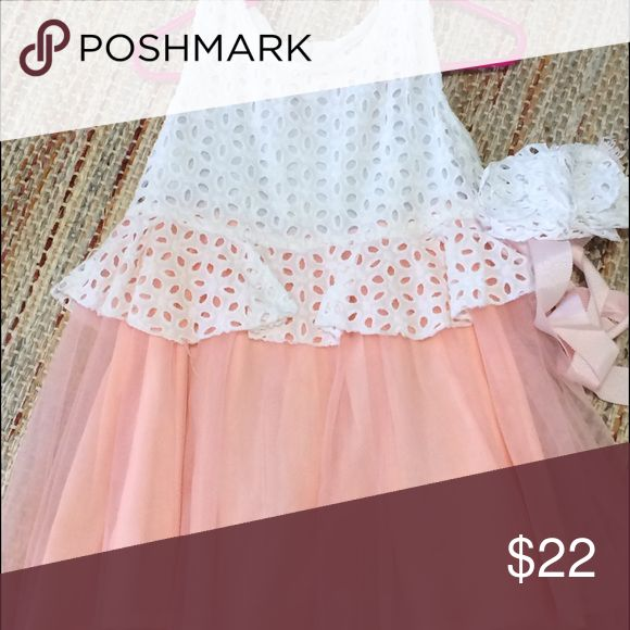 Richie House - peach lace dress Richie House - peach lace dress with peplum style.  Soft lining with tulle overlay skirt. Zip back. Size 2/3 toddler excellent condition only worn once. richie house Dresses Formal