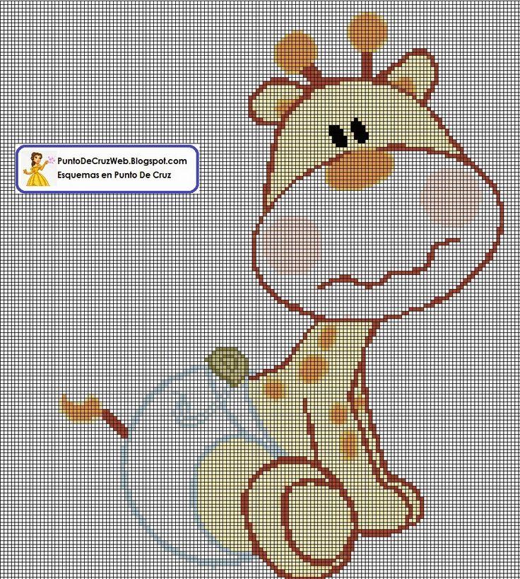Punto De Cruz: Jirafa En Pañales - Esquema Infantil