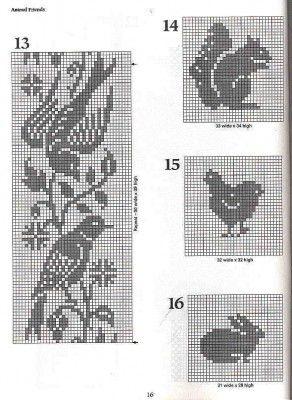 101 Filet Crochet Charts - birds, squirrel, hen, bunny