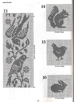 Knitting charts: birds, squirrel, hen, bunny.