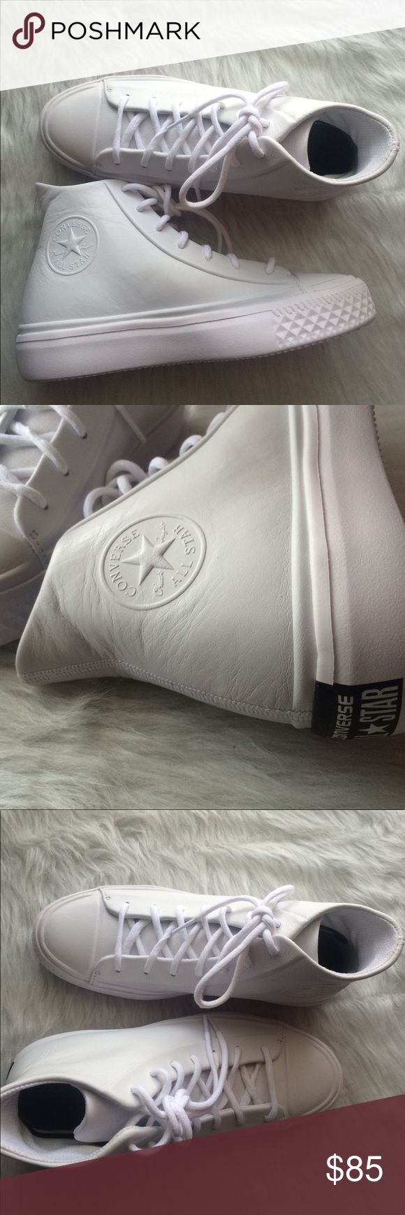 Converse modern all white leather hi tops shoes Brand new Converse Shoes Sneakers